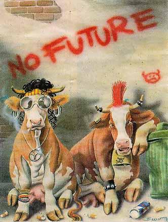 Karikatur aus einer englischen Zeitung, zwei Punk-Kühe in einem Hinterhof