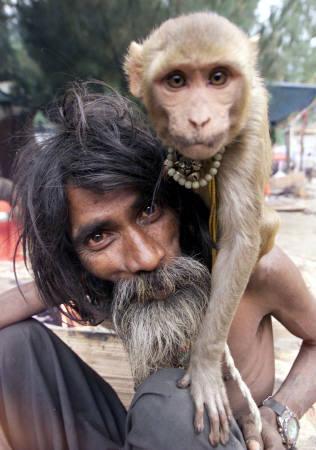 Affe und sein Herrchen (Gesichtsvergleich)