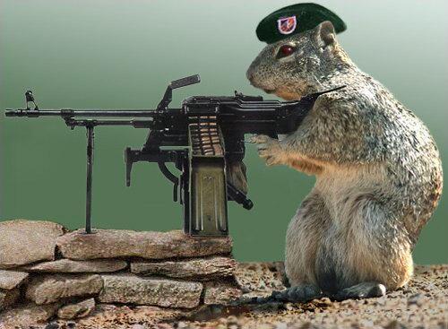 tierisch cooler Schütze mit Maschinengewehr